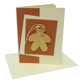 Handmade Wooden Gingerbread Man Card