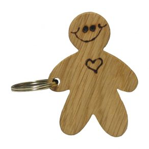 Wooden Gingerbread Man Keyring